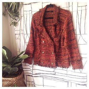 Anthropologie One Girl Who Boucle Fringe Sweater